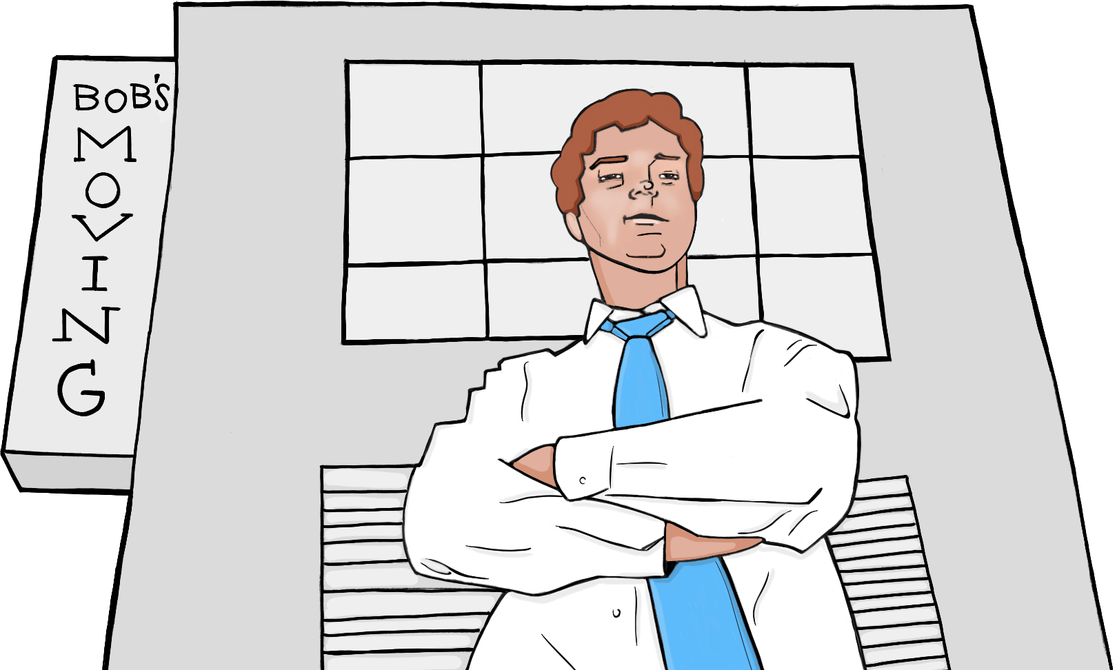 Man with folded arms in front of building