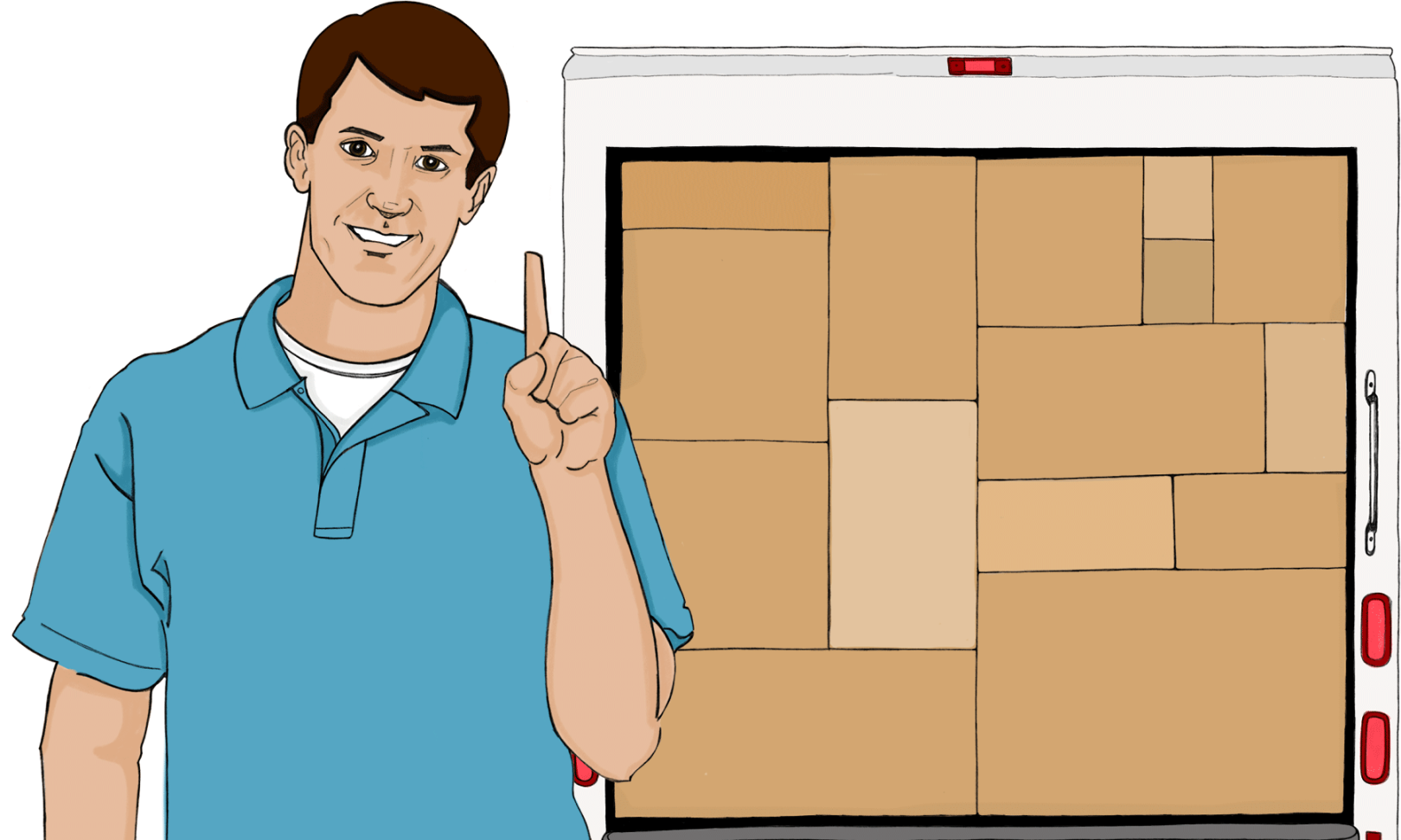 Man holding up finger standing in front of moving truck